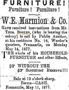 Booler Thomas Auction [Fremantle Herald 12 May 1877]