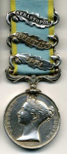 Burns -Crimea Medal 3 clasps