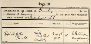 Thorold Burial Record
