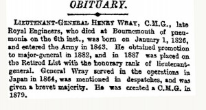 Wray Obit [London Times 9 Apr 1900]
