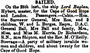 1860 Lord Raglan [Perth Gazette 27 Jan 1860]