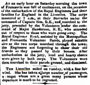 1862 Lincelles Departure of RE [Inquirer 30 Apr 1862]