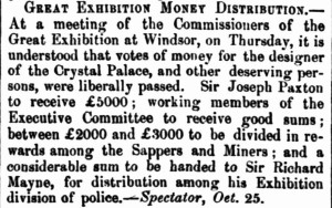 Great Exhibition money distribution [Maitland Mecurity etc 11 Feb 1852]
