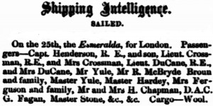 Du Cane on Esmeralda [Inquirer 27 Feb 1856]