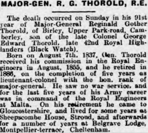 Thorold Obit [Cheltenham Chronicle 5 May 1928]