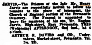 Jarvis Henry Funeral [West Australian 2 May 1906]