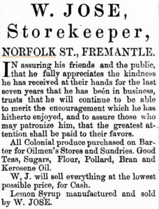 Jose William Advt [Herald 15 Aug 1868]