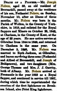 Nelson Joseph Death [Albany Advertiser 20 Nov 1907]